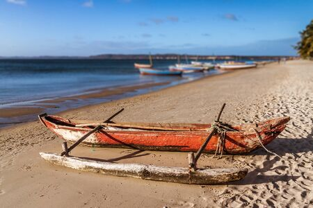 A traditional fishing boat beached on Ramena beach of Antsiranana bay (Diego Suarez), north of Madagascar