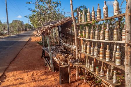 Sale of tourist souvenirs on the road of Ramena, near Diego Suarez (Antsiranana), north of Madagascar