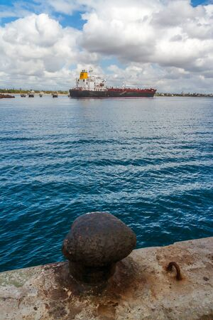 Cargo ship view from the port of Toamasina (Tamatave), Madagascar