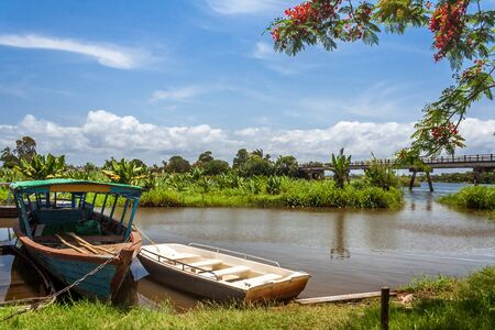 A traditional barge in Nosy Varika on the Pangalanes Canal, Eastern Madagascar Stock Photo