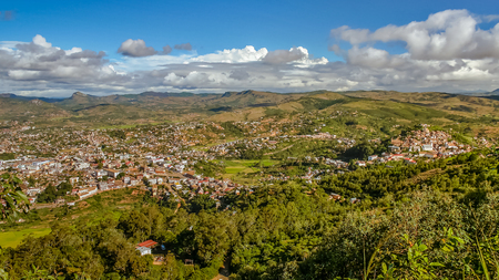 The town of Fianarantsoa, Madagascar highlands. The upper town on the right and the city center on the left Stock Photo