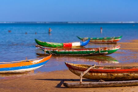 Outrigger canoes on the beach of Foulpointe, eastern Madagascar