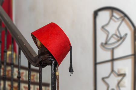 Traditional fez or tarboosh hat of Morocco Stock Photo