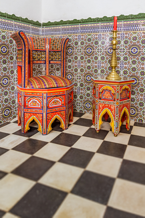 Stock Photo   Traditional Moroccan Chair And Table On A Zellige Background