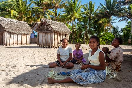 Ambohitsara, Madagascar, Nov. 11, 2016: Malagasy women of Betsimisaraka ethnicity  in their tribal village along the Pangalanes canal, east of Madagascar