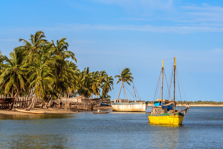 Dhows waiting restoration in the shipyard of Belo sur Mer, western Madagascar Stock Photo