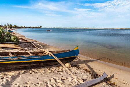 Traditional outrigger canoe  in Belo sur Mer, western Madagascar Stock Photo