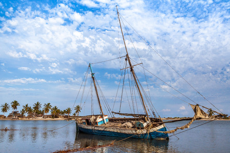 Damaged dhow in the shipyard of Belo sur Mer, western Madagascar