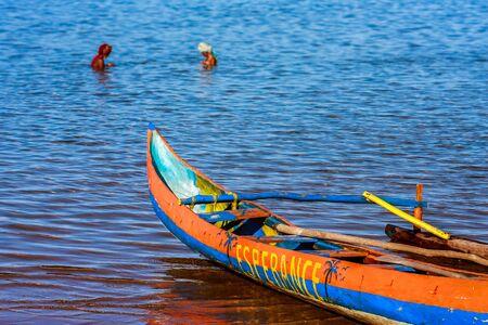 Foulpointe, Madagascar, November 15, 2016: Women bathing in the lagoon of Foulpointe near Toamasina (Tamatave), East of Madagascar Editorial