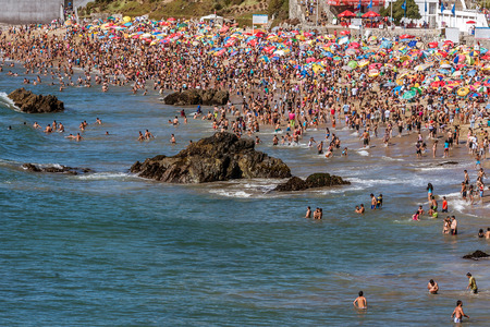 Crowded beach on the seafront of Vina del Mar, Chile on January 16, 2017