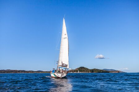 Nosy Be, Madagascar, June 26, 2017: An amateur yachtsman team sailing offshore Nosy Be, Madagascar Editorial