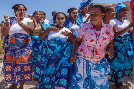 Antsanitia, Madagascar, September 27, 2016: Malagasy people during a ceremony with their traditional outfits in Antsanitia, Western Madagascar Sajtókép