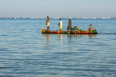 Tsifota, Madagascar, June 08, 2017: Fishing scene of Malagasy fishermen of the Vezo ethnic group in the Ambatomilo lagoon in southwestern Madagascar Redakční