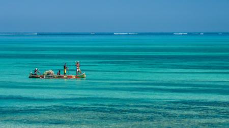 Tsifota, Madagascar, June 09, 2017: Fishing scene of Malagasy fishermen of the Vezo ethnic group in the Ambatomilo lagoon in southwestern Madagascar Editorial