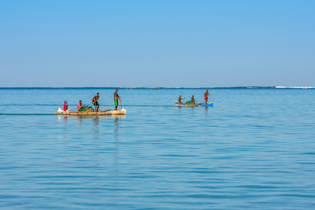 Tsifota, Madagascar, June 08, 2017: Fishing scene of Malagasy fishermen of the Vezo ethnic group in the Ambatomilo lagoon in southwestern Madagascar Editorial