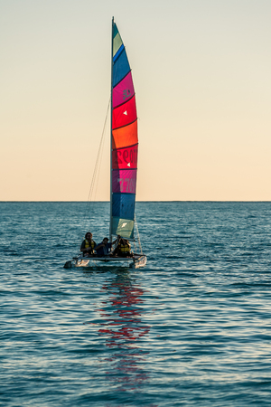 Ankasy, Madagascar, June 09, 2017: hobie cat catamaran and its crew sailing in the lagoon of Ambatomilo in south-west of Madagascar