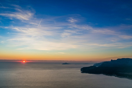 Sunset on the Calanques of Marseille, the day of winter solstice Stock Photo