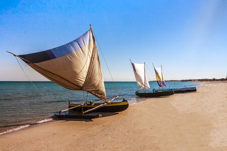 Malagasy traditional fishing boats beached on Anakao beach, southern Madagascar