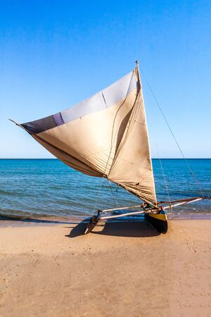 Malagasy traditional fishing boat beached on Anakao beach, southern Madagascar