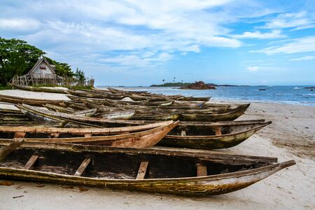 Fishing dugout canoes beached in Sainte Luce near Tolanaro (Fort-Dauphin), southern Madagascar