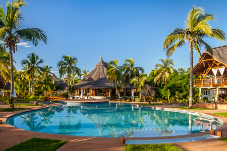 Tropical swimming pool of luxury hotel in Nosy Be, Madagascar