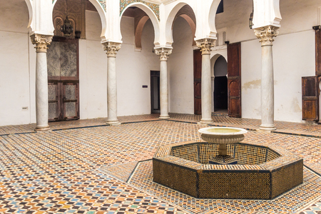 Tangier, Morocco, April 05, 2017: Courtyard interior of the Palace of the Kasbah in the Tangiers medina
