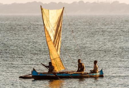 Ifaty, Madagascar, June 15, 2017:  Malagasy fishing sailboat of the Vezo ethnic group in the lagoon of southwestern Madagascar