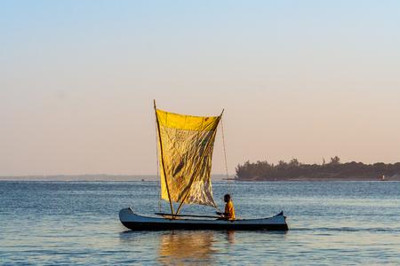 Ifaty, Madagascar, June 16, 2017:  Malagasy fishing sailboat of the Vezo ethnic group in the lagoon of southwestern Madagascar