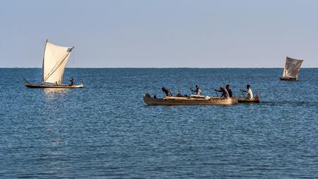 Ifaty, Madagascar, June 16, 2017:  Malagasy fishing sailboats of the Vezo ethnic group in the lagoon of southwestern Madagascar