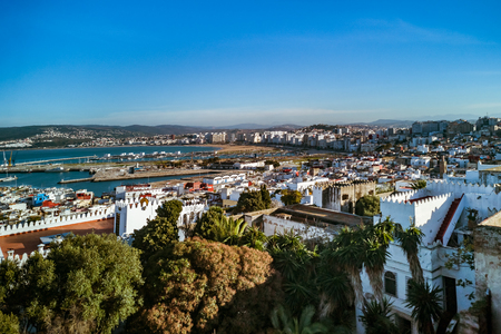 The old medina and the port of Tangier, Morocco Banque d'images