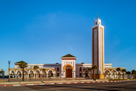 The new mosque of the port of Tangier city, Morocco Imagens