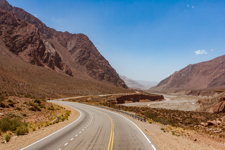 The National Route 7 (Ruta Nacional 7 ), here in the Andes, crosses Argentina from east to west connecting Buenos Aires to Santiago de Chile Stock fotó
