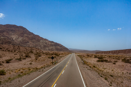 The National Route 7 (Ruta Nacional 7 ), here in the Andes, crosses Argentina from east to west connecting Buenos Aires to Santiago de Chile