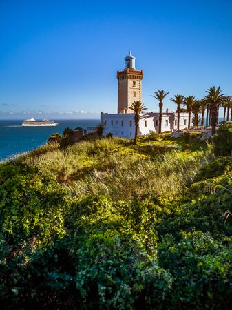 Cape Spartel, promontory at the entrance to the Strait of Gibraltar, 12 km West of Tangier, Morocco. Banque d'images