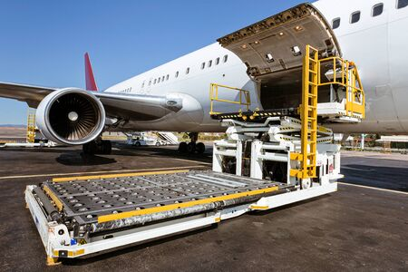 Loading platform of freight to the aircraft Stock Photo