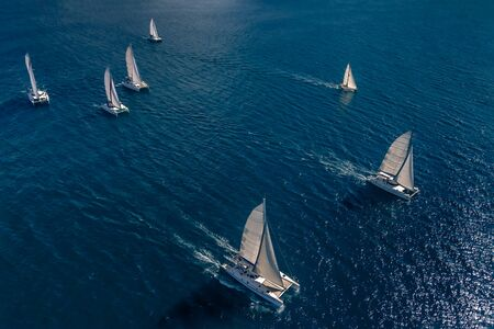 Regatta in the Indian Ocean, monohulls and catamarans