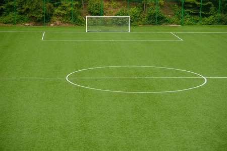 Soccer field in synthetic grass Stock Photo