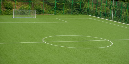 Soccer field in synthetic grass 스톡 콘텐츠