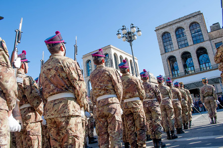 March 18th 2016 milano italy:military parade in the cathedral square Editorial