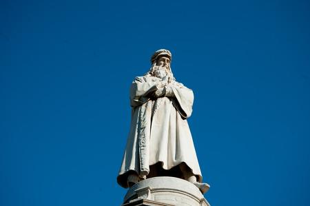 statue of Leonardo da Vinci in Milan square of the scale
