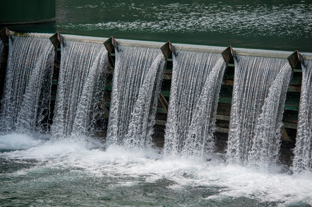 overflow of water in a hydroelectric plant