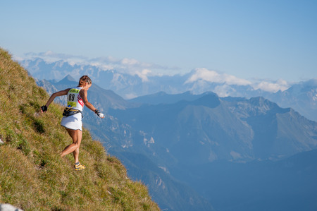 Bergamo Italy: September 2014 mountain race of 38 km