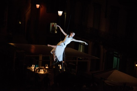 Bergamo Italy 14 September2018: performance of acrobatic dance suspended in the air performance of MolecoleShow