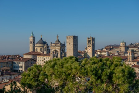 skyline of the upper city of bergamo
