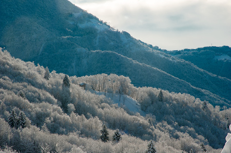 mountain landscape after snowfall 写真素材