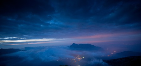 sunrise view from the summit of the mountain 写真素材