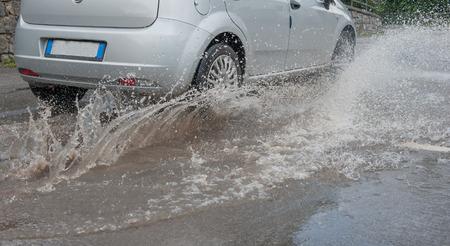driving on flooded road Reklamní fotografie