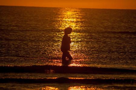 girl who walks at sunset