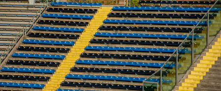 plastic seats on stadium tiers