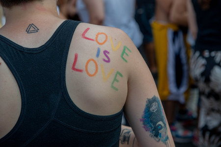 Milan Italy June 29, 2019: parade through the streets of Milan of gay pride for the rights of sexual desires of each individual
